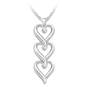 Daughter I Love You Diamond Pendant Necklace