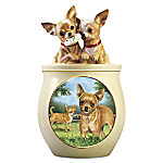 Chihuahua Art Ceramic Cookie Jar by Linda Picken