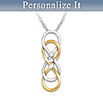 Womens Necklace: Our Love For Always Personalized Diamond Pendant Necklace
