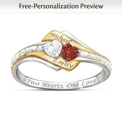 Buy Two Hearts Become One Engraved Topaz, Garnet & Diamond Ring