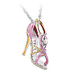 Breast Cancer Awareness Step Out For Hope Pendant Necklace
