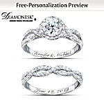Valentines Gifts Ring Set: Diamonesk Personalized Bridal Ring Set