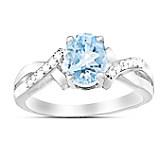 Elegance Aquamarine & Diamond Ring