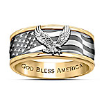 Freedom Soars Engraved Men's Spinning Ring