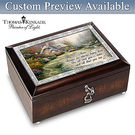 Music Box: Thomas Kinkade Forever In Mother's Heart Personalized Music Box