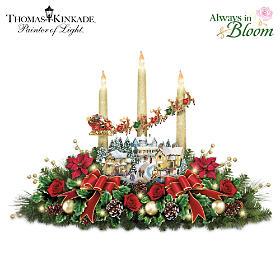 Thomas Kinkade The Lights Of Christmas Table Centerpiece