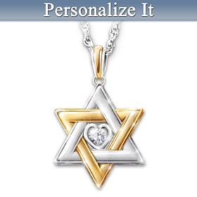 Star Of David Personalized Diamond Pendant Necklace