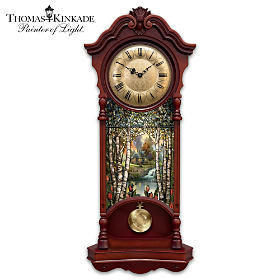 Thomas Kinkade Illuminated Stained Glass Wall Clock
