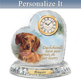 Dachshund Crystal Heart Personalized Clock