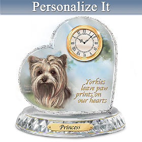 Yorkie Crystal Heart Personalized Clock