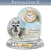 Schnauzer Crystal Heart Personalized Clock