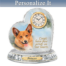Corgi Crystal Heart Personalized Clock