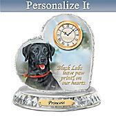 Black Labrador Crystal Heart Personalized Clock