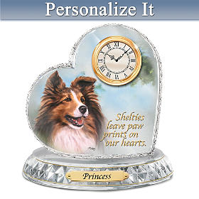 Sheltie Crystal Heart Personalized Clock