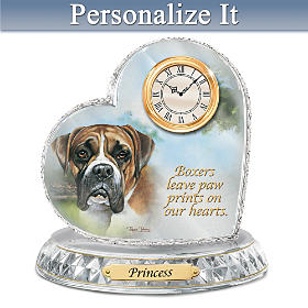 Boxer Crystal Heart Personalized Clock