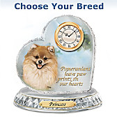 Favorite Dog Breeds Crystal Heart Personalized Clock