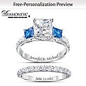 Something Blue Personalized Bridal Ring Set