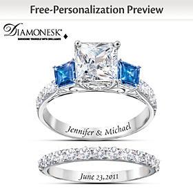 Something Blue Personalized Bridal Ring Set