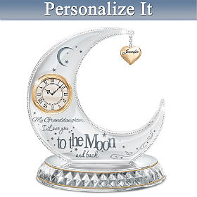 My Granddaughter, I Love You To The Moon Personalized Clock