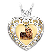 Glowing With Love Yorkie Pendant Necklace