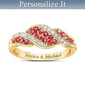 Romance Ruby & Diamond Personalized Ring