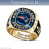 New England Patriots Super Bowl Champions Personalized Ring