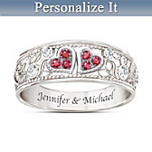 Heart To Heart Ruby And Diamond Personalized Ring