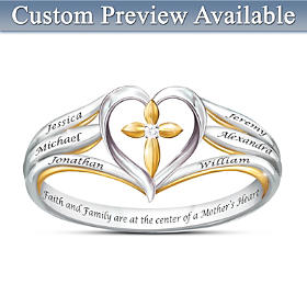 Faith & Family Personalized Diamond Ring