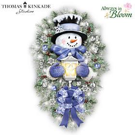 Thomas Kinkade A Warm Winter Welcome Snowman Wreath