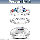 Chicago Cubs His & Hers Personalized Wedding Ring Set