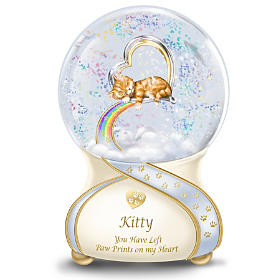 Paw Prints To Rainbow Bridge Musical Glitter Globe