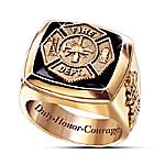 Maltese Cross Gold Firemen Ring