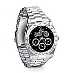 Ride Hard, Live Free Stainless Steel Motorcycle Chronograph Watch - Jewelry Gift For Biker