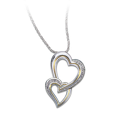 A Daughter's Heart Sterling Silver Heart-Shaped Diamond Pendant