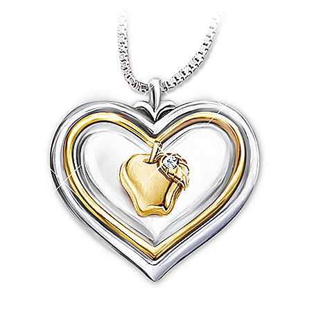 Hearts Of Learning Heart-shaped Diamond Pendant Necklace Gift For Teachers