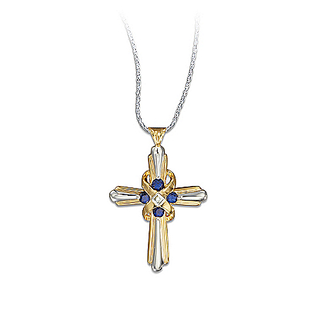 Heaven's Eternal Promise Sapphire Diamond Cross Pendant Necklace