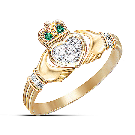 Diamond And Emerald Claddagh Ring Irish Jewelry