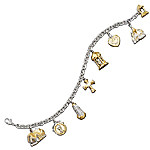 Thomas Kinkade Faith And Family Religious Charm Bracelet Gold-Plated Jewelry