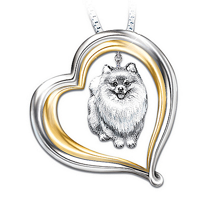 Loyal Companion Dog Lover Pomeranian Pendant Necklace Gift Idea