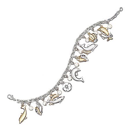 Jeweled Dancers Dolphin Charm Bracelet With Swarovski Crystals