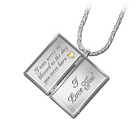 Gifts for Daughters Dear Daughter Letter Of Love Engraved Diamond Locket Necklace