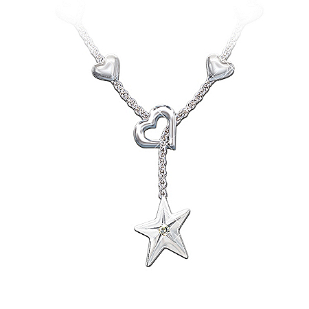My Granddaughter, My Shining Star Diamond Pendant Necklace Jewelry Gift