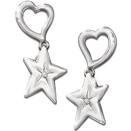 My Granddaughter, My Shining Star Diamond Earrings Gift For Granddaughters