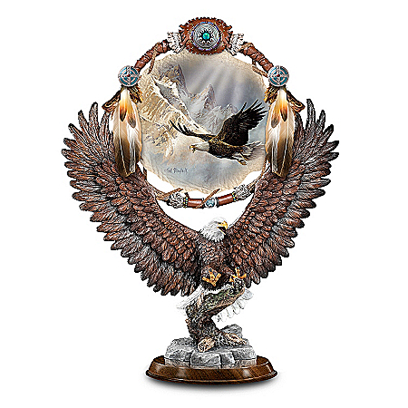 Soaring Dream Ted Blaylock Collectible Bald Eagle Art Sculpture With Replica Dreamcatcher