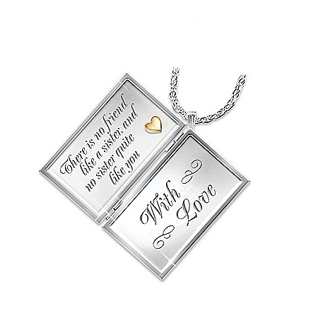 Dear Sister Letter Of Love Sterling Silver And Diamond Engraved Locket Necklace: Sister Gift by The Bradford Exchange Online - Lovely Exchange