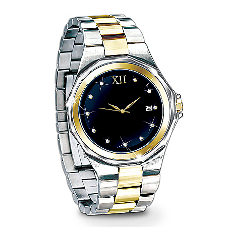 Timeless Love Stainless Steel Men's Watch: Romantic Jewelry Gift For Him by The Bradford Exchange Online - Lovely Exchange