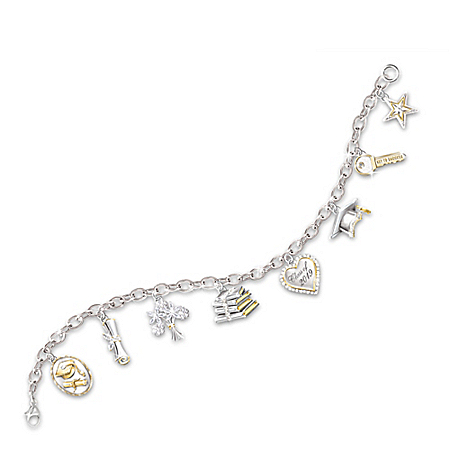 Head Of The Class Charm Bracelet: Graduation Jewelry Gift For Her by The Bradford Exchange Online - Lovely Exchange
