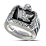 Patriotic American Eagle Men's Sterling Silver Ring
