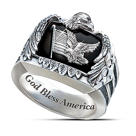 Patriotic American Eagle Men's Sterling Silver Ring