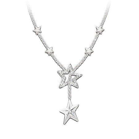My Daughter, My Shining Star Sterling Silver Diamond Necklace: Jewelry Gift For Daughter
